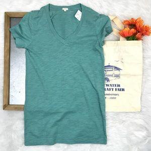 J. Crew v neck green t shirt basic NWT